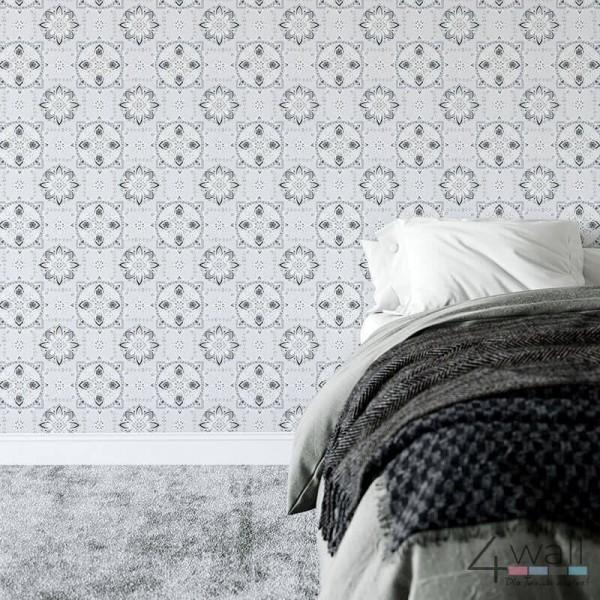 Szara geometryczna tapeta ścienna w nowoczesnym stylu - aranżacja pokoju
