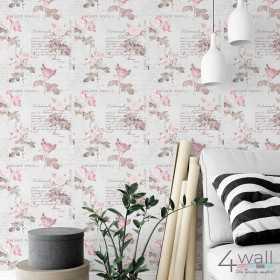 Pomysł na aranżacje sypialni i pokoju dla nastolatki w róże i napisy w stylu Vintage