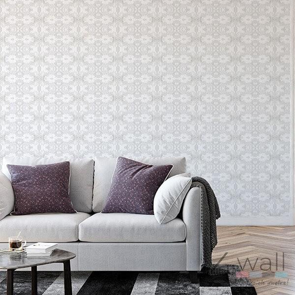 Szara geometryczna tapeta do salonu na jednej ścianie pomysły i inspiracje