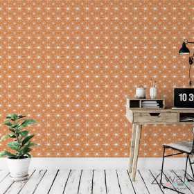 Aranżacja pokoju - pomarańczowa tapeta ścienna w stylu retro