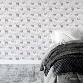Skandynawska tapeta w renifery do pokoju na szarym tle w stylu skandynawskim