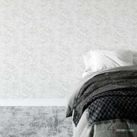 Nowoczesna tapeta w szare kwiaty do sypialni