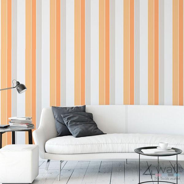 Tapeta pomarańczowe pasy do pokoju młodzieżowego Retro