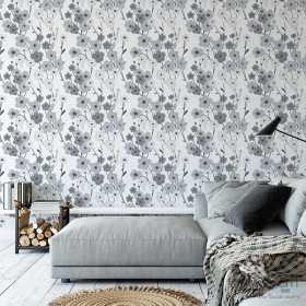 Szara tapeta w kwiaty marimekko aranżacje salonu i pokoju