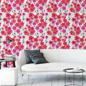 Retro tapeta w kwiaty czerwone marimekko