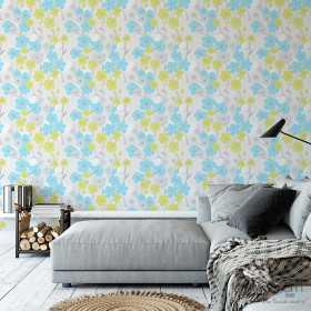 Tapety w kwiaty marimekko niebiesko zielone