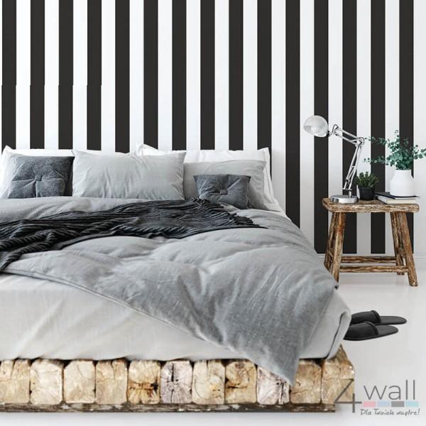 Tapeta w czarno-białe pasy do pokoju