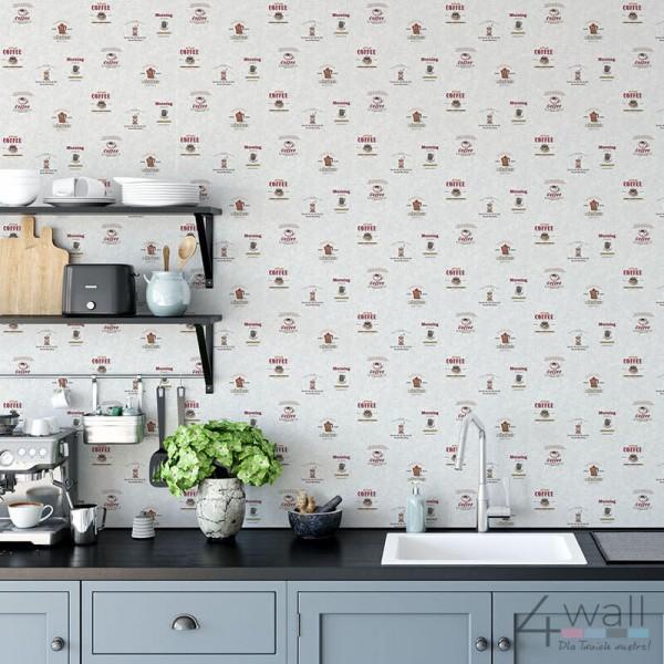 Tapety w stylu Vintage do kuchni z napisami filiżanki