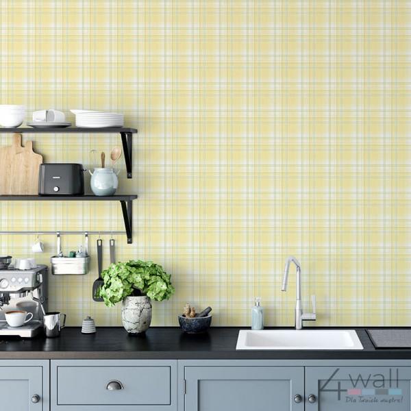 Tapeta w żółtą kratę do kuchni w stylu vintage kratka kuchenna