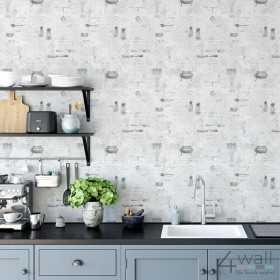 Tapeta w kuchni na jednej ścianie za stołem