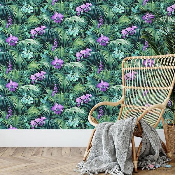 Zielona tapeta w liście tropikalne