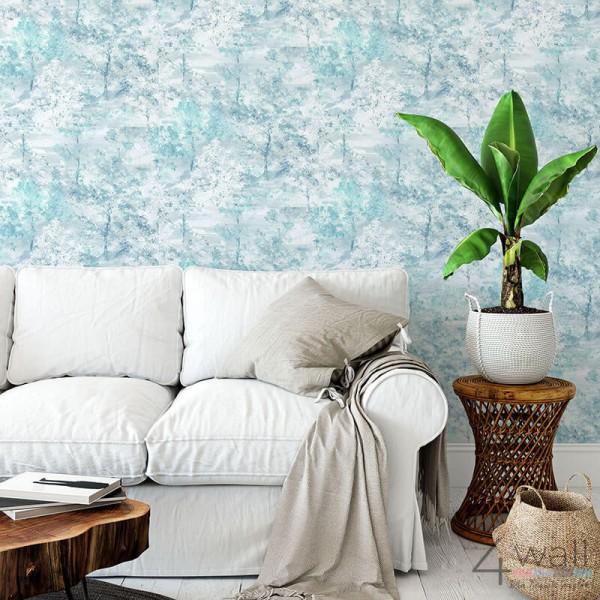Niebieska błękitna tapeta do salonu