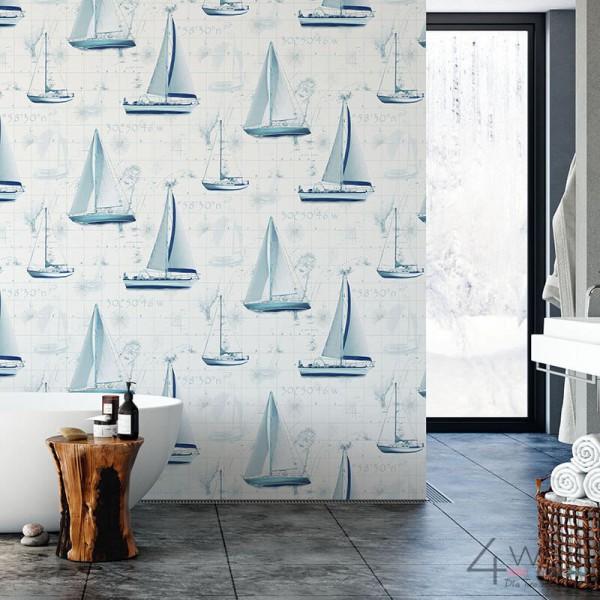 Marynistyczna tapeta w żaglówki aranżacje łazienki