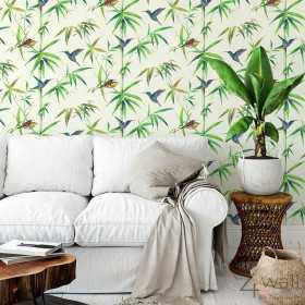 Tapety w stylu tropikalnym bambusy do salonu