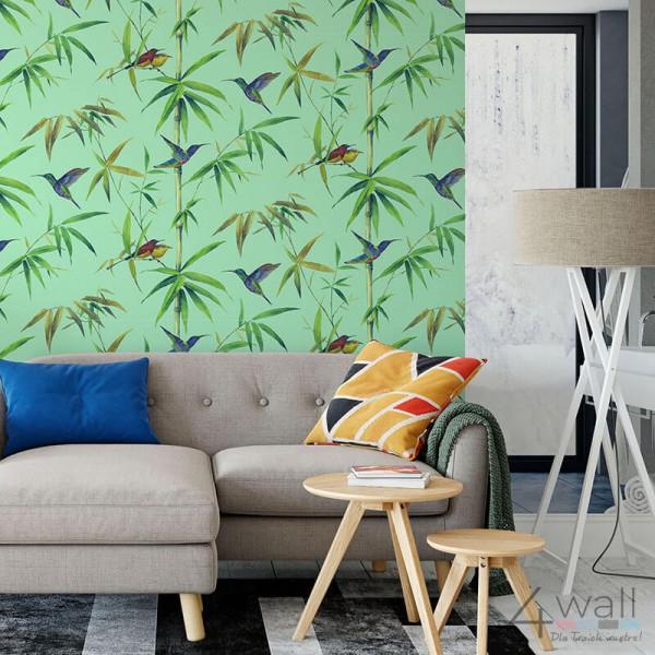 Miętowe tapety tropikalne liście do salonu aranżacje tapet turkusowych