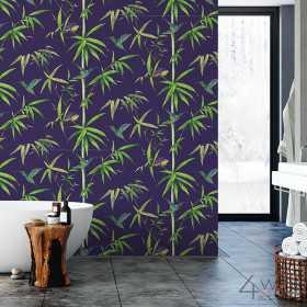 Granatowa tapeta tropikalna w liście do łazienki aranżacje i inspiracje
