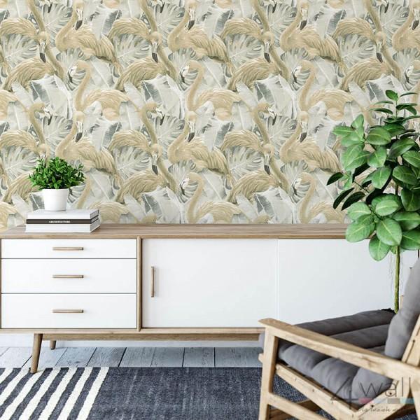 Flamingi na tapecie na ścianę tropikalne wzory tapet