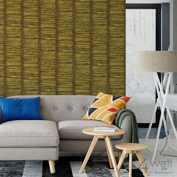 Tapeta imitacja deski bambus do salonu aranżacje tropikalne
