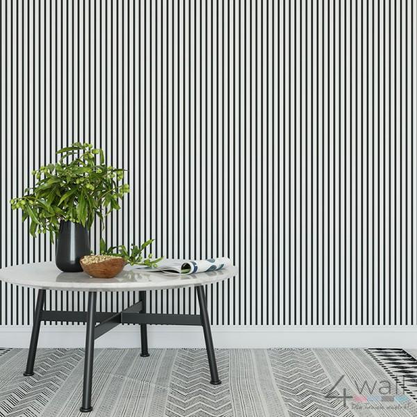 Tapety 3D do salonu w czarno białe paski