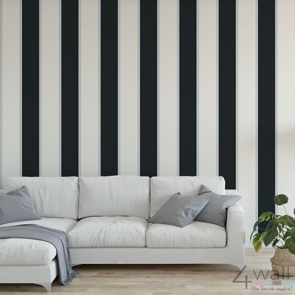 Szerokie czarno białe pasy tapeta ścienna do salonu