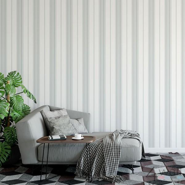 Szaro białe paski tapeta aranżacje salonu