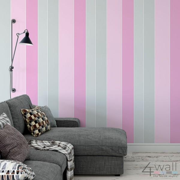 Tapety w szaro różowe pasy aranżacje salonu