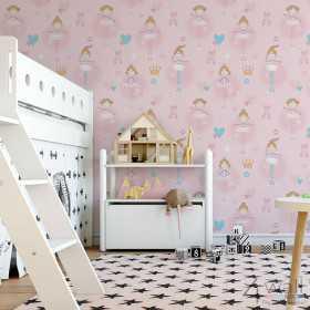 Różowe tapety do pokoju dziewczynki aranżacje