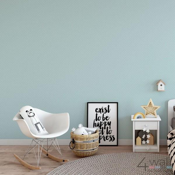Niebieska tapeta w groszki i kropki dziecięca