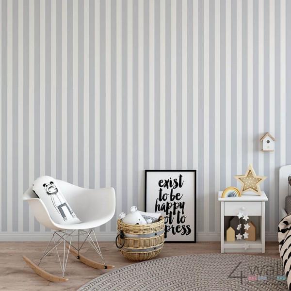 Tapeta w szare biało pasy do pokoju dziecięcego
