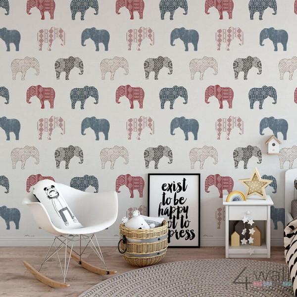 Tapeta w słonie do pokoju chłopca modna