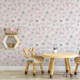 Różowa tapeta ścienna w alfabet dla dzieci