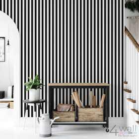 Tapeta do przedpokoju w czarno białe pasy na korytarz