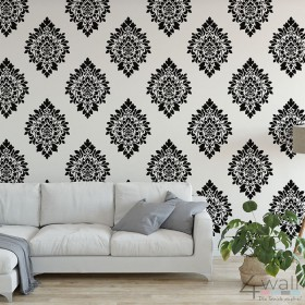 Modna tapeta w ornament czarno biała do salonu