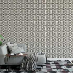 Czarna tapeta do salonu aranżacje geometryczna
