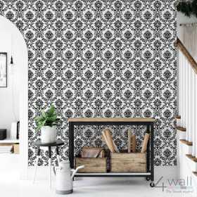 Tapeta w czarno biały ornament