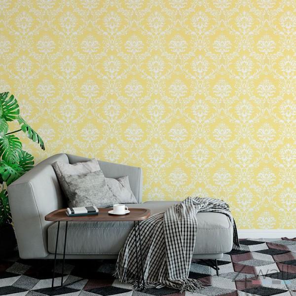 Tapeta żółta ornament biały