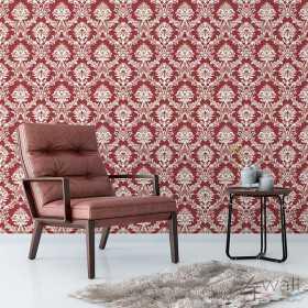 czerwona tapeta w ornament