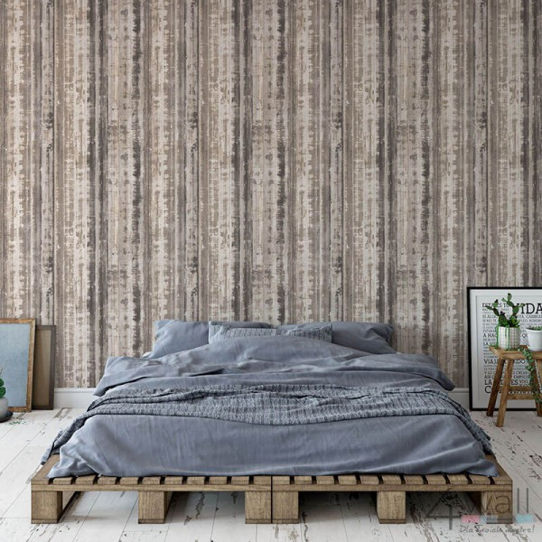 Tapeta za łóżkiem na jednej ścianie