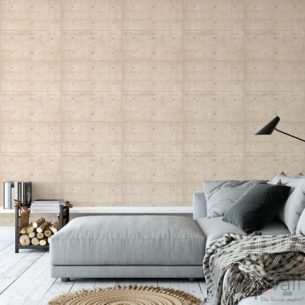 Tapeta jak beton architektoniczny aranżacje sypialni
