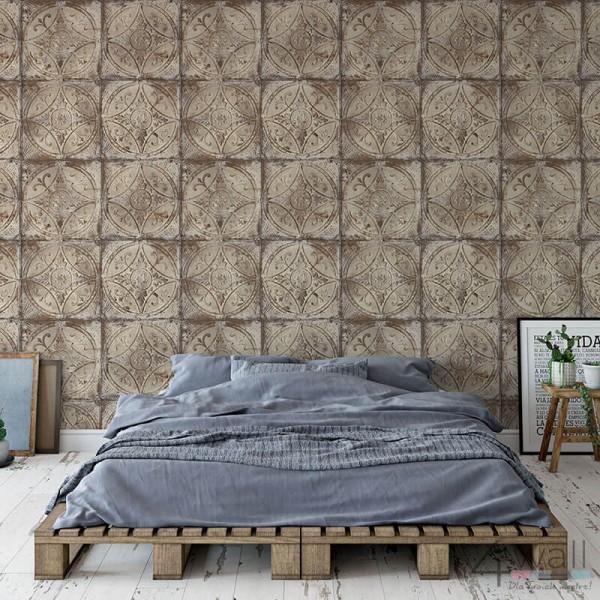 Industrialna tapeta do sypialni aranżacje loft