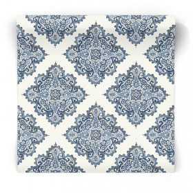 Niebieska tapeta w marokański kwiat G67368