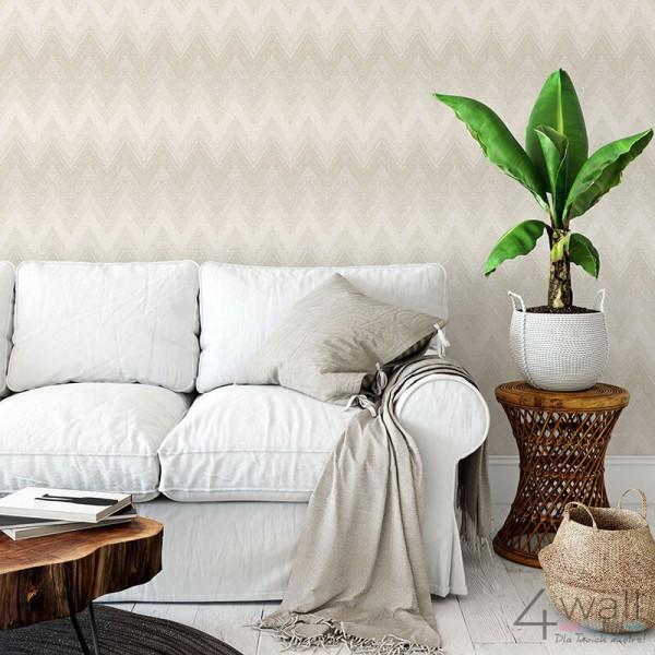 Tapeta w zygzak w kolorze szarym do salonu aranżacje tapet geometrycznych
