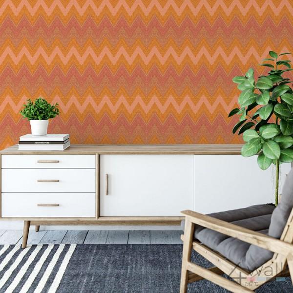 Tapeta w kolorze pomarańczowym na ściane w zygzaki - geometryczna flizelinowa