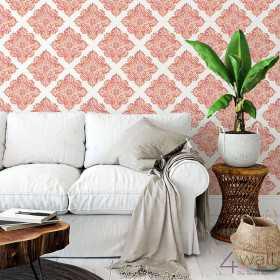 Jaka tapeta do salonu? Wzór w indyjski kwiat czerwona