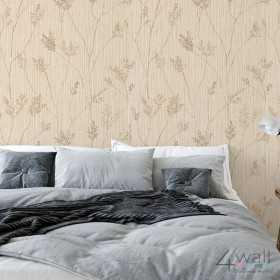 Tapeta ścienna w beżowe gałązki do sypialni - inspiracje aranżacji wnętrz