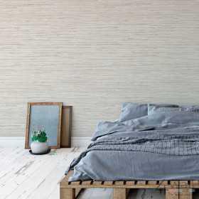 Słomiana tapeta na ścianę do sypialni
