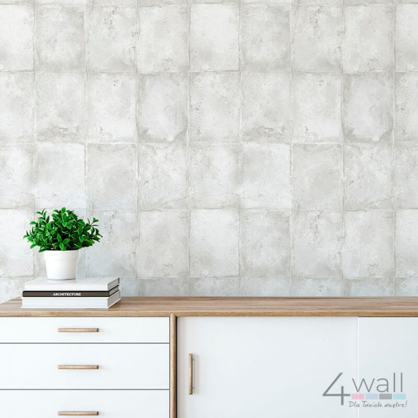 Tapeta na ścianę w szare cegły do pokoju