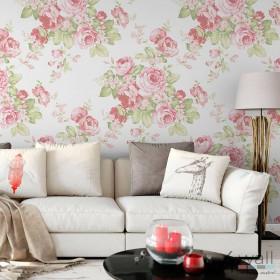 Tapeta Vintage w kwiaty malowane pastelowe