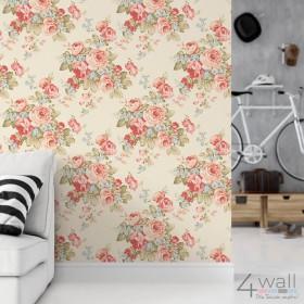 Tapeta na ścianę w stylu vintage do salonu w kwiaty