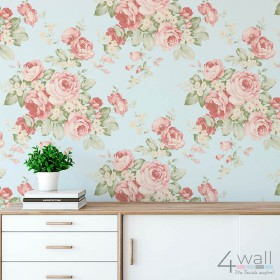 Miętowa tapeta w różowe kwiaty Vintage